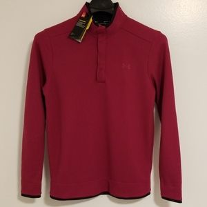 NWT UNDER ARMOUR Mens Snap Mock Cherry Top Size MD